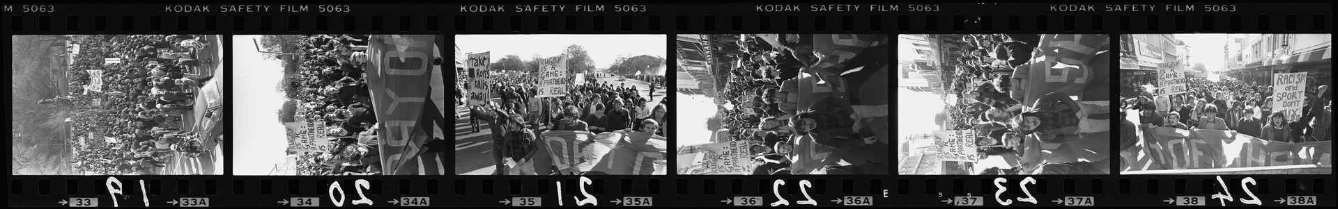 Negative strip from the Christchurch Star Archive showing National day of shame Springbok rugby tour protest rally