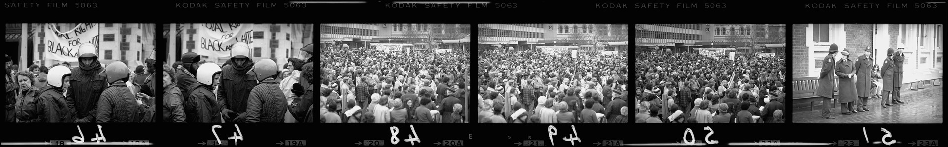 Negative strip with Crowds of Springbok rugby tour protesters