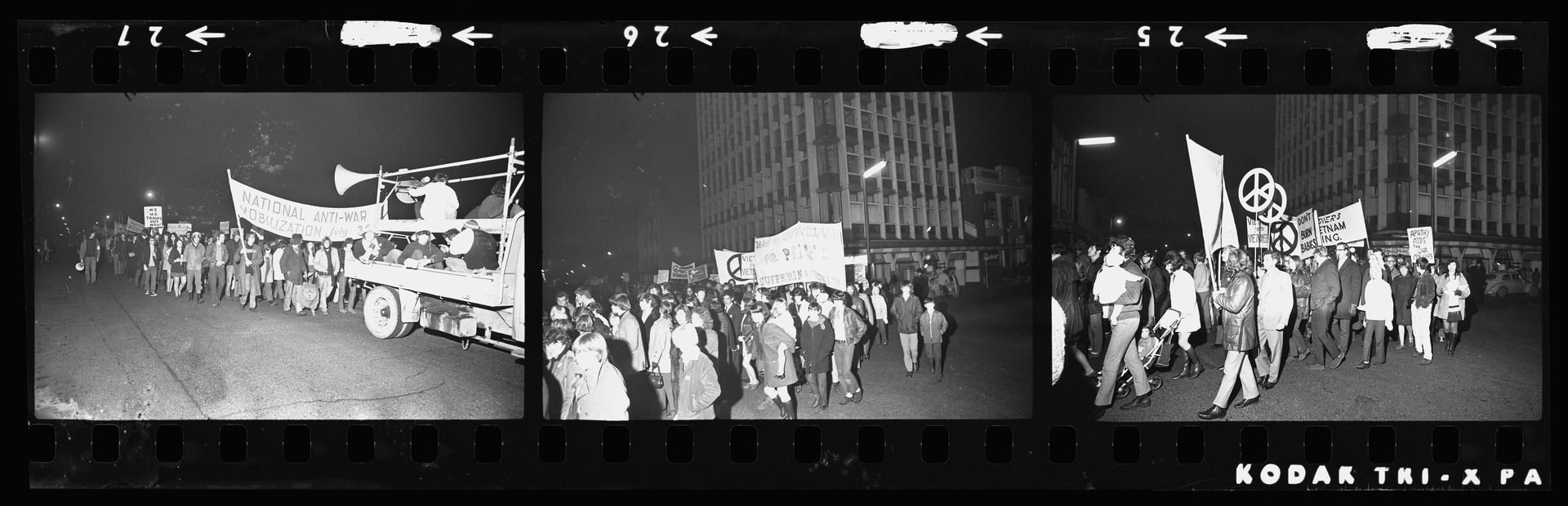 Negative showing Vietnam War protesters in Manchester Street