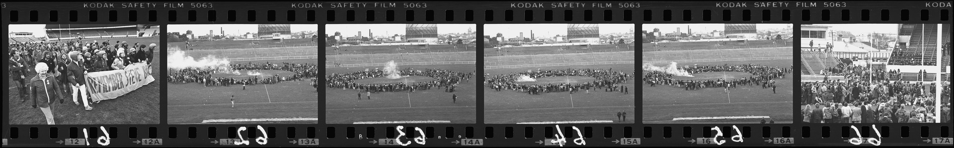 Negative strip from the Christchurch Star Archive showing Springbok Rugby Tour protest on the pitch at Lancaster Park