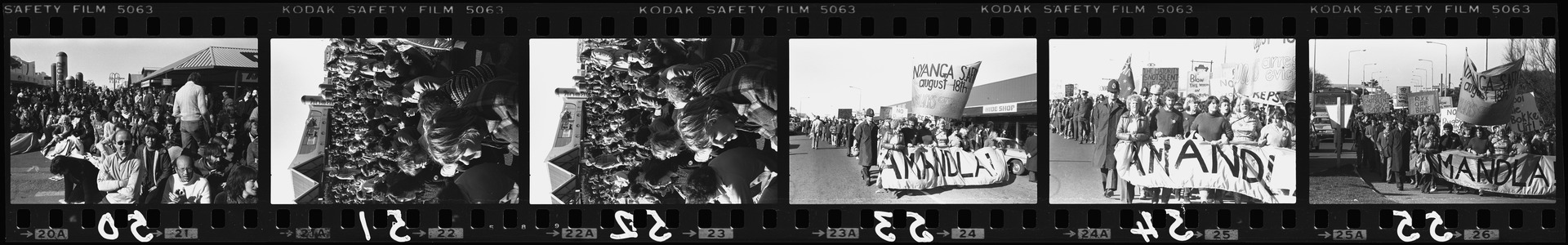 Negative strip from the Christchurch Star Archive showing Springbok rugby tour protest at New Brighton Mall