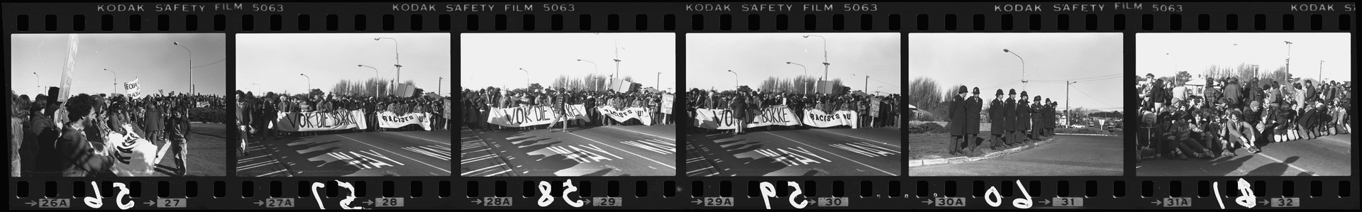 Negative strip from the Christchurch Star Archive showing Springbok rugby tour protest march around New Brighton