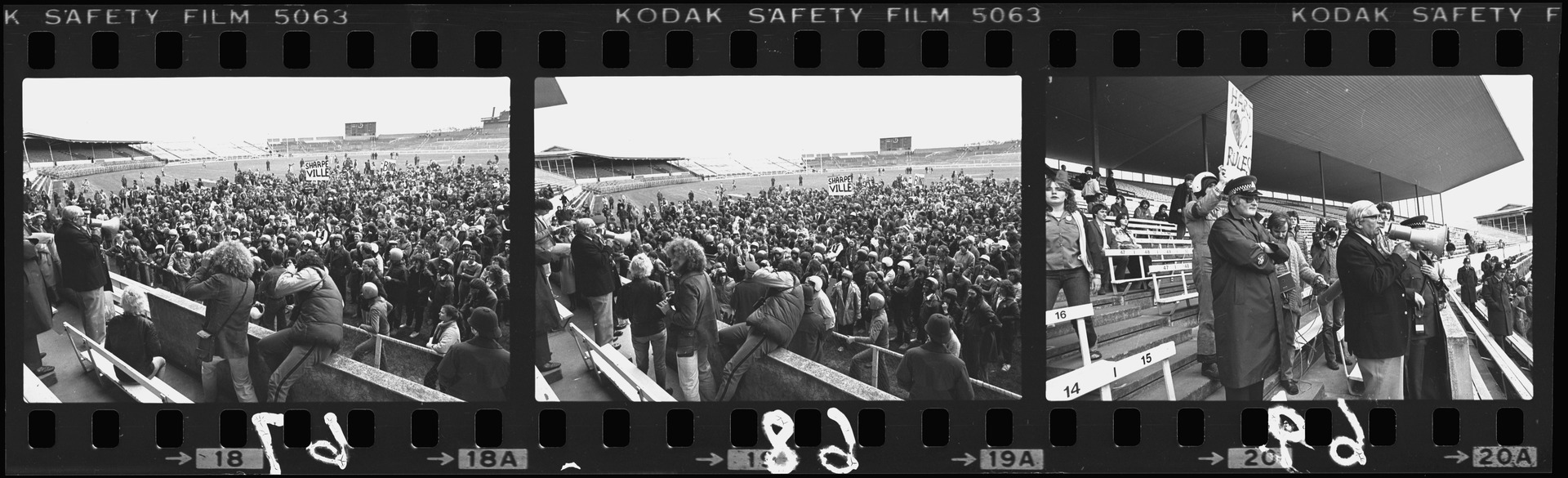 Negative strip from the Christchurch Star Archive showing Springbok Rugby Tour protest in the stands at Lancaster Park