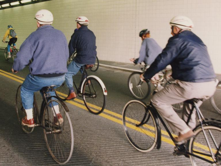 Image of cyclists in tunnel in Lyttelton