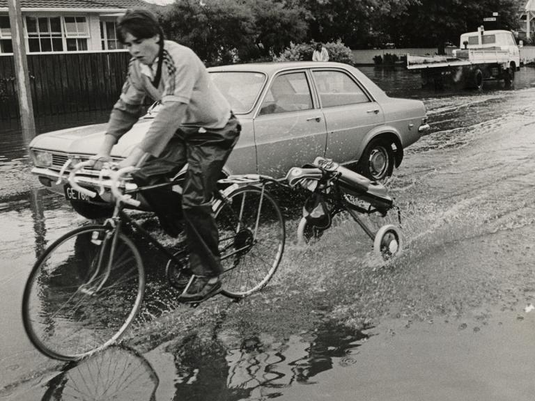 Image of cycling through flooding