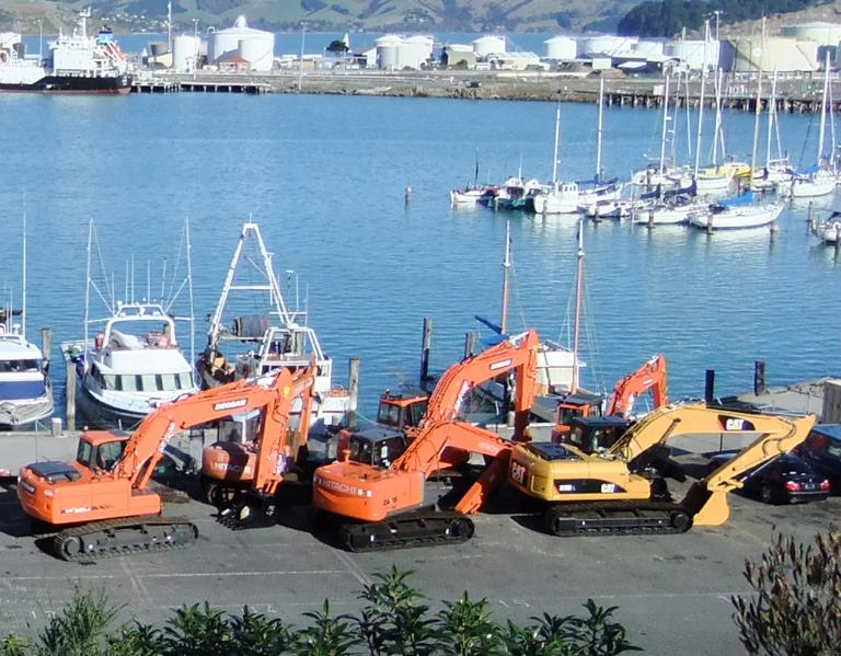 Image of diggers unloaded at Lyttelton, 2011